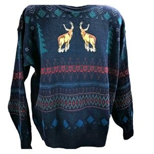 Pendleton XL stags wool sweater. Blue